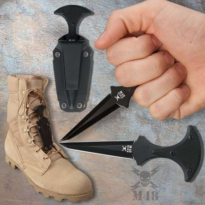 M48 Kommando Tactical Push Dagger Small & Sheath