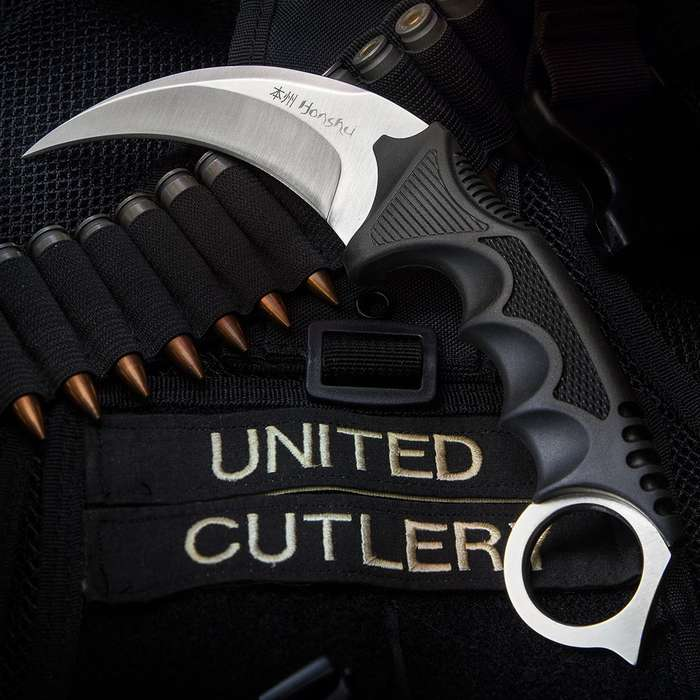 """United Cutlery Silver Honshu Karambit With Shoulder Harness Sheath - 7Cr13 Stainless Steel Blade, Over-molded Handle - Length 8 3/4"""""""