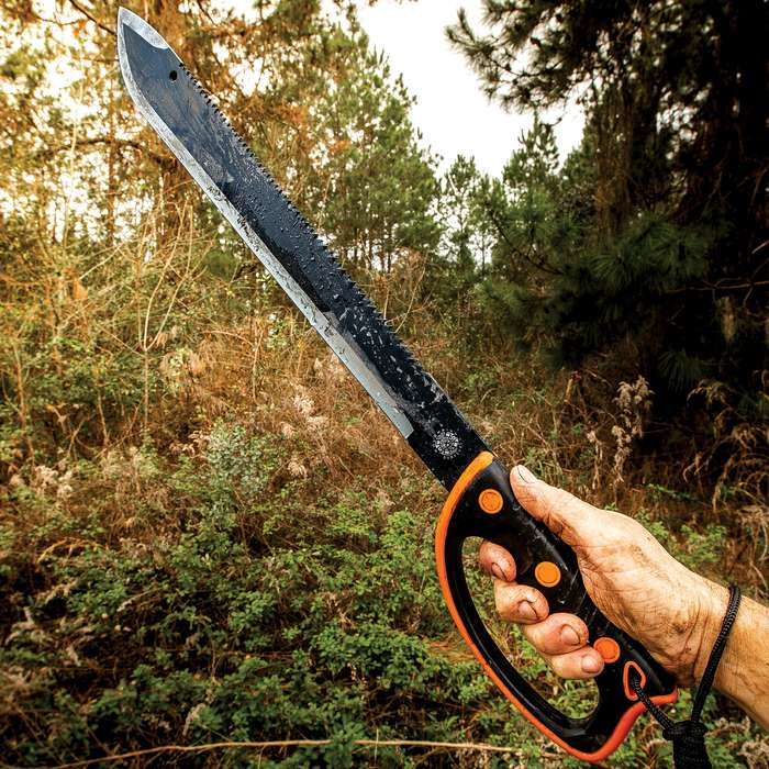 """United Cutlery Colombian Rescuer Sawback Survival Machete - Stainless Steel Blade, Rubberized Molded Handle - Length 24"""""""