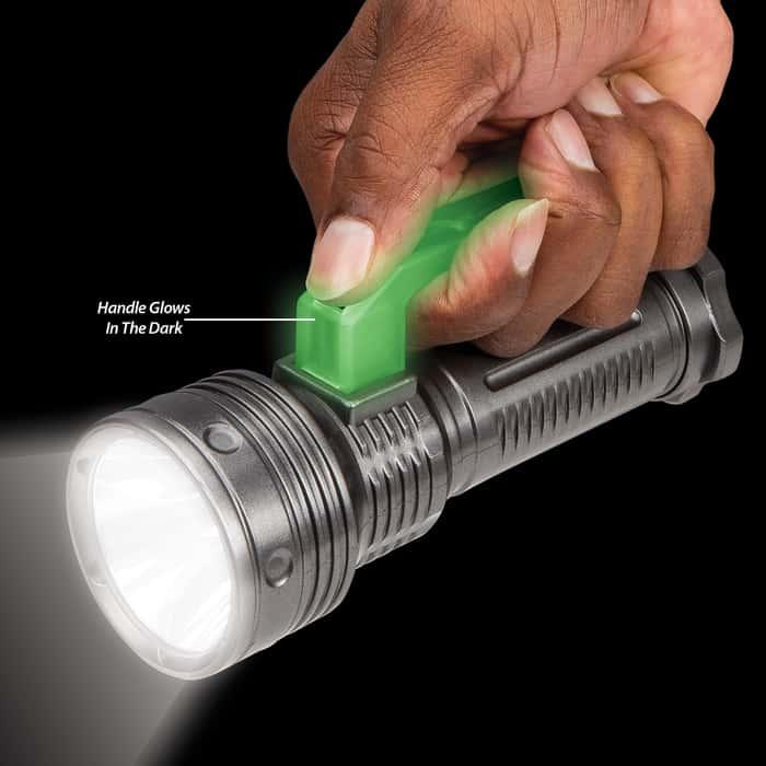 Handheld Flashlight With Glow In The Dark Handle - Three-Watt LED, Three-Stage Switch, Three Settings, Grooved Handle