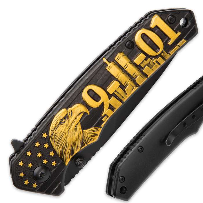 9/11 Remembrance Assisted Opening Pocket Knife / Folder - 420 Stainless Steel  Exclusive Design, Black / Gold - Everyday Carry EDC Display Collectible Gift - World Trade Center Twin Towers New York