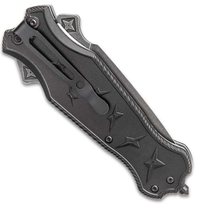 Dark Ninja Assisted Opening Pocket Knife - Stainless Steel Dagger Blade, Aluminum Handle, 3D Relief Artwork, Glass Breaker