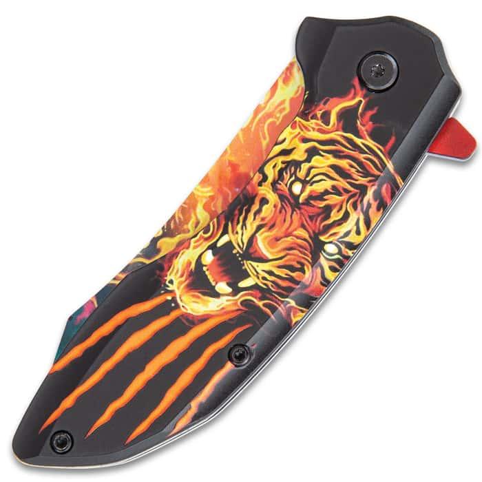 Blazing Tiger Assisted Opening Pocket Knife - Stainless Steel Blade, Vivid Artwork, Printed TPU Handle, Pocket Clip