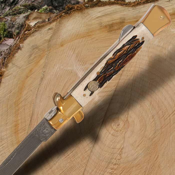 Kissing Crane Burnt Bone Stiletto Knife - Damascus Blade