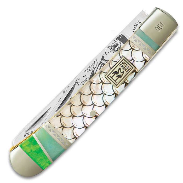 Kissing Crane Tarpon Fish Trapper Pocket Knife - Stainless Steel Blades, Genuine Laser-Etched Pearl Handle Scales, Nickel Silver Bolsters
