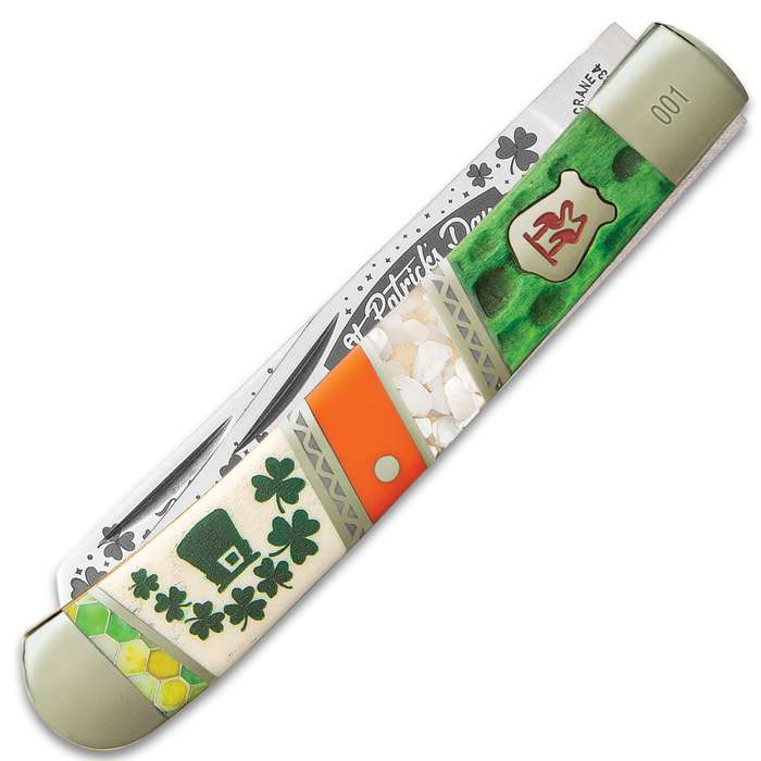 Kissing Crane 2020 St. Patrick's Day Trapper Pocket Knife - Stainless Steel Blades, Bone Handle, Nickel Silver Bolsters, Brass Liners