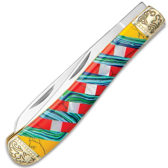 Ridge Runner Moroccan Mosaic Trapper Pocket Knife - 3Cr13 Stainless Steel Blades, Multi-Stone Handle, Nickel Silver Bolsters, Brass Liners