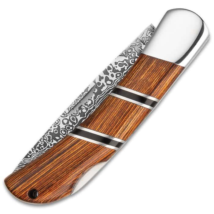 Ridge Runner Regatta Lockback Pocket Knife - 3Cr13 Stainless Steel Blade, Damascus Pattern, Pakkawood Handle, Stainless Steel Bolster