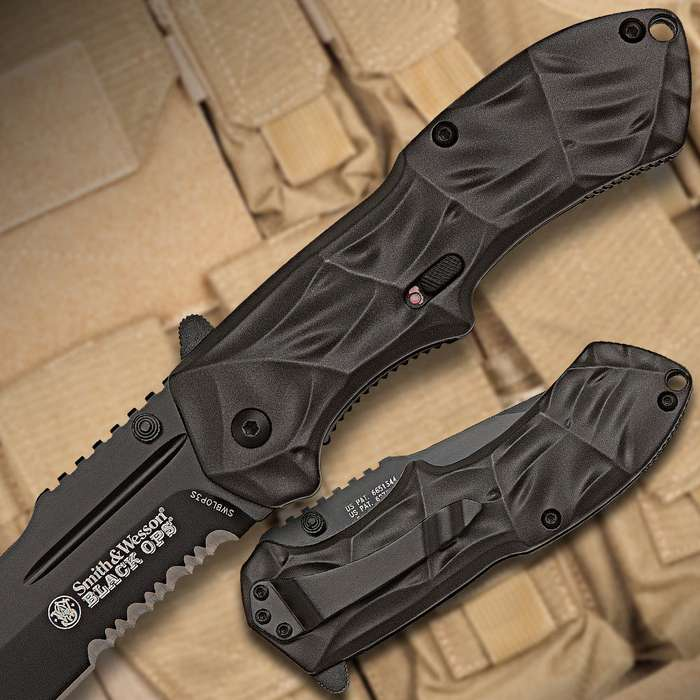 Smith & Wesson Black Ops Assisted Opening Pocket Knife Serrated