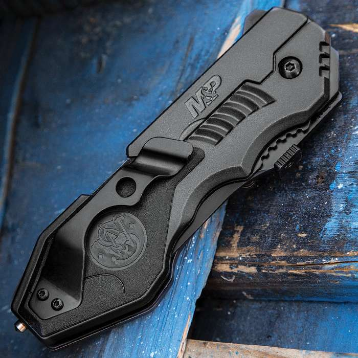 Smith & Wesson M&P Assisted Opening MP4L Tactical Pocket Knife - Partially Serrated
