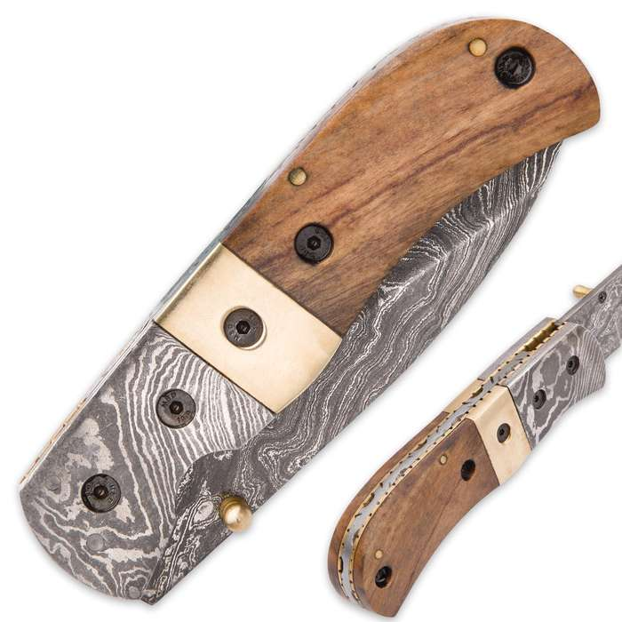 Timber Wolf Woodsong Damascus Pocket Knife with Genuine Leather Sheath - Walnut Handle Scales