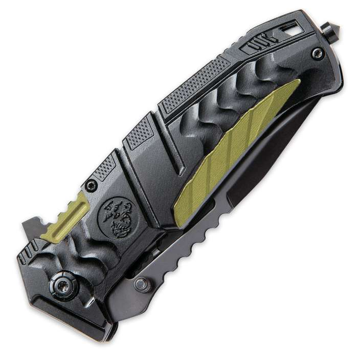 USMC Battlehard Tactical Folder / Assisted Opening Pocket Knife - 420 Stainless Steel, Anodized Aluminum, Black/Green - Officially Licensed US Marines - Pocket Clip, Skull Crusher, One Handed Open