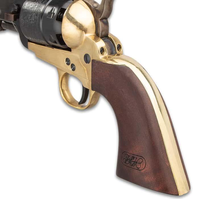 "1851 Navy Sheriff Black Powder Pistol - .44 Caliber, Single Shot, Brass Frame, 5 1/2"" Blued Barrel, Wooden Grip"