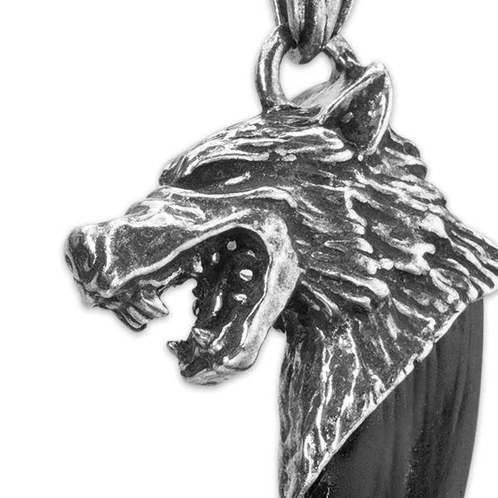 Black Wolf Tooth Necklace