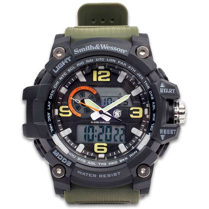 Smith & Wesson Combat Chrono 5.56 Watch - Olive Drab - Tough TPR Band, Automatic Calendar, EL Backlight, Dual Time