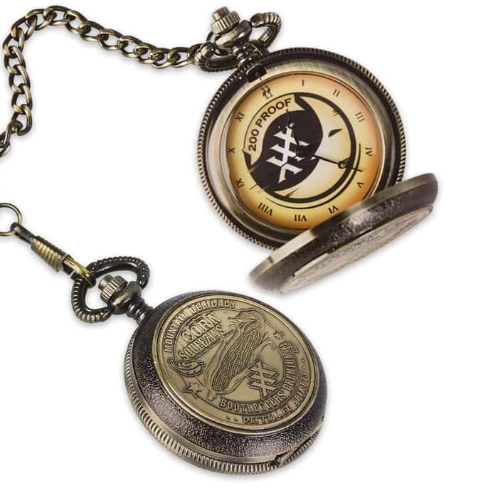 Corn Sqeezins Bootleggers Premium Moonshine Pocket Watch With Chain