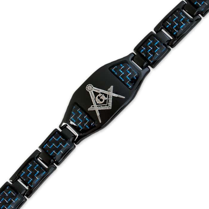 Stainless Steel Masonic Blue Carbon Fiber Bracelet