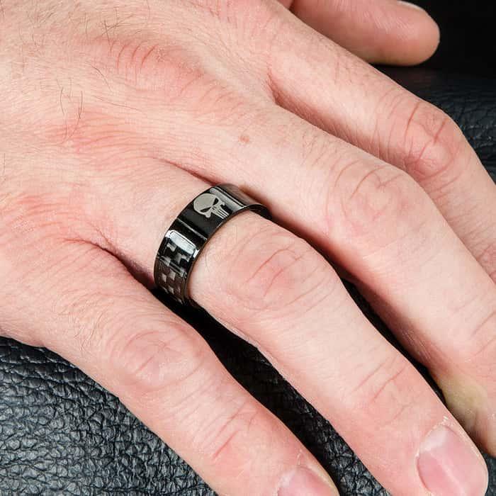 Punisher Skull Black Carbon Fiber Ring