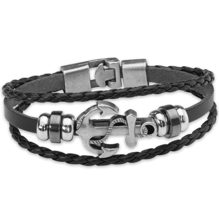 Black Leather Anchor Bracelet - Three-strand