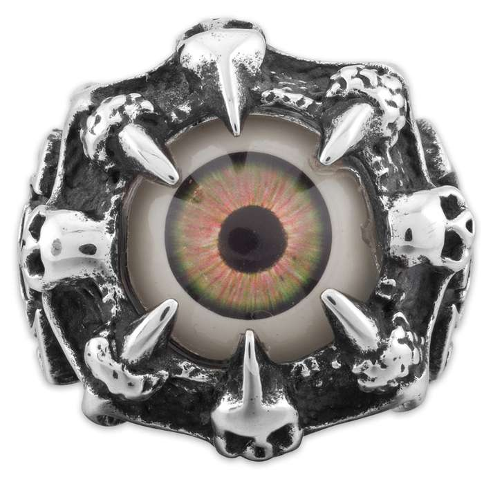 """""""Oculus"""" - Hazel Eye Ringed by Claws  - Men's Stainless Steel Ring - Sizes 9-12"""