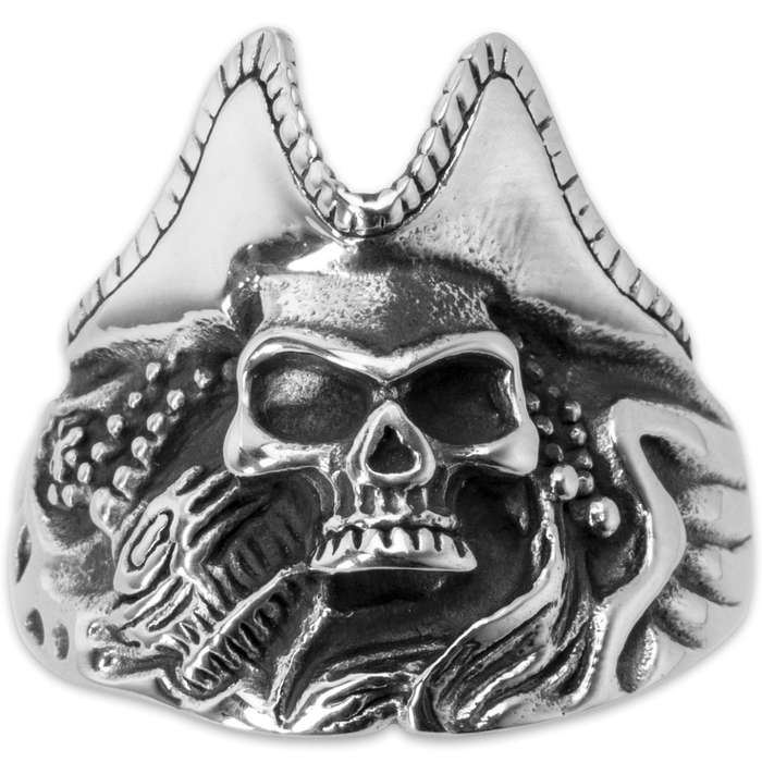 Pirate Skull Reef Stainless Steel Men's Ring