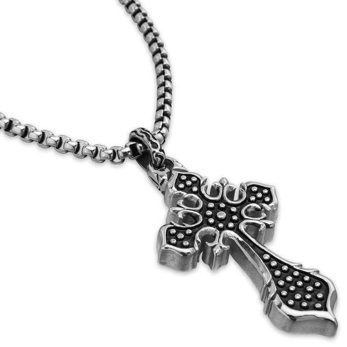 Studded Cross Pendant on Chain - Stainless Steel Necklace