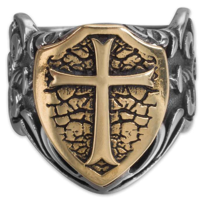 Twisted Roots Golden Shield Stainless Steel Men's Ring