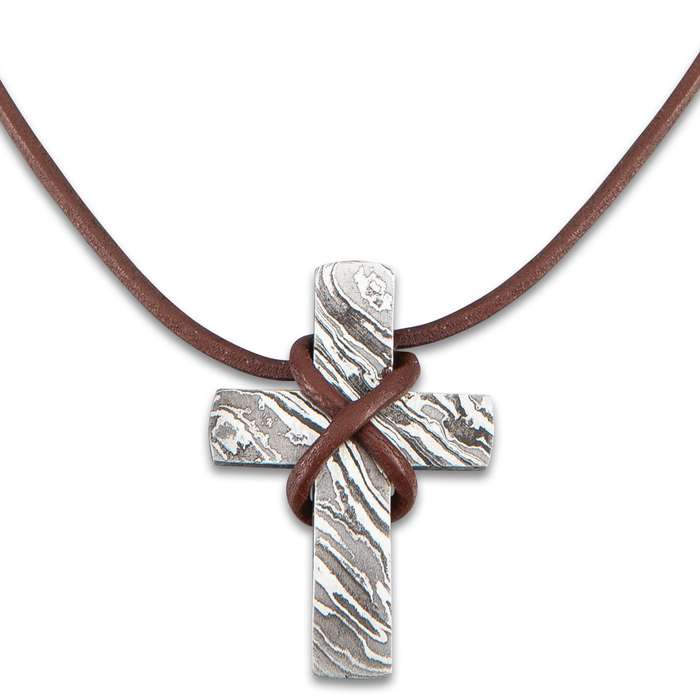 "Primitive Cross Pendant - Solid Damascus Construction, Leather Thong - Dimensions 2""x 1 1/4"""