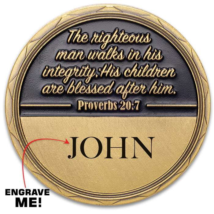 """Fatherhood Challenge Coin - Crafted Of Metal Alloy, Detailed 3D Relief On Each Side, Collectible - Diameter 1 5/8"""""""