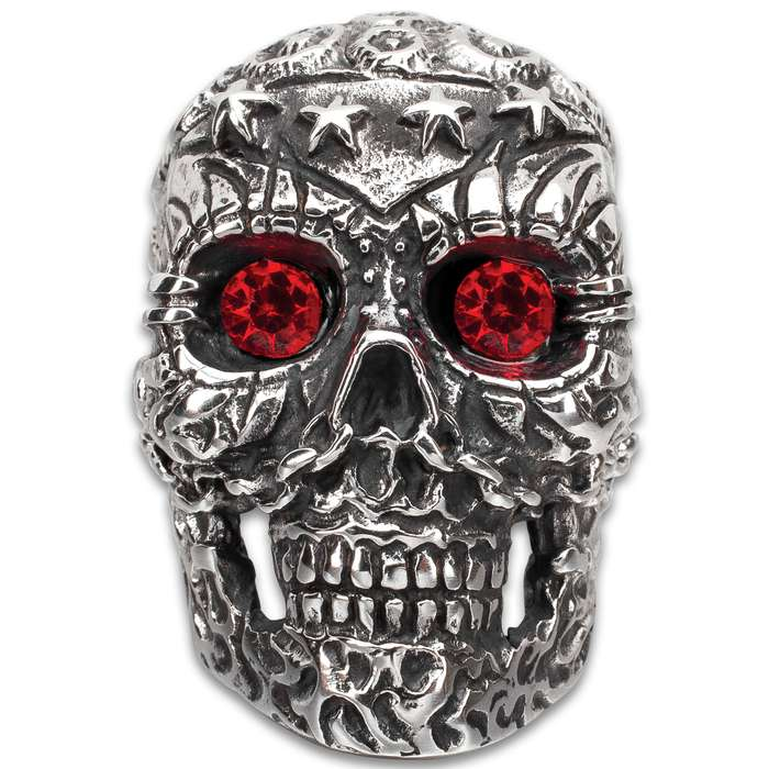 Four Star Red Eyes Skull Ring - Stainless Steel Construction, Faux Jewels, Remarkable Detail - Available In Sizes 9-12