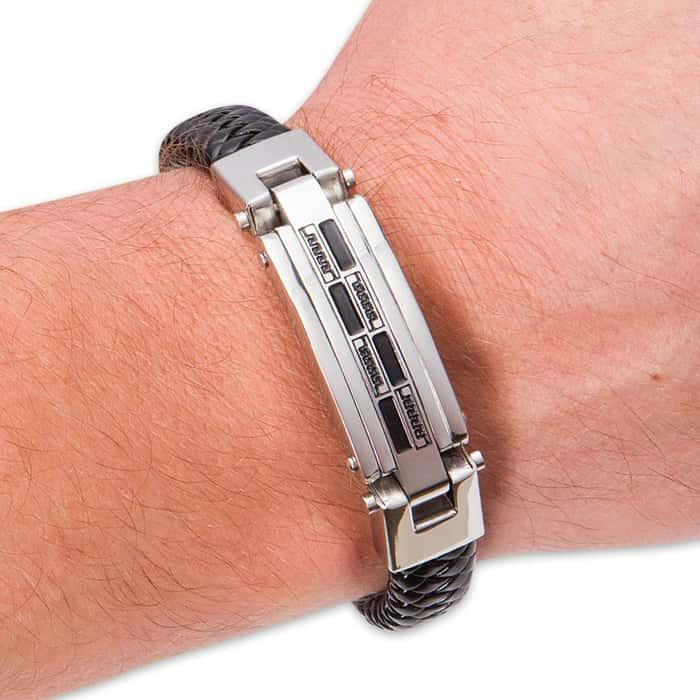 Braided Black Genuine Leather Bracelet with Greek Key / Fret Pattern Accent