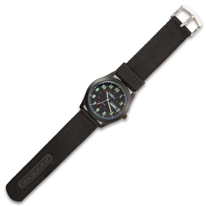 M48 Black NATO Watch - Analog, Metal Case, Canvas Band, Glow-In-The Dark Numbers And Hands, Date Window, Military Time