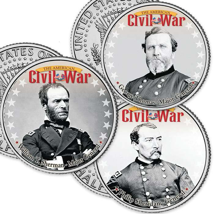 "Civil War ""Union"" JFK Half Dollars - Set Of Six"