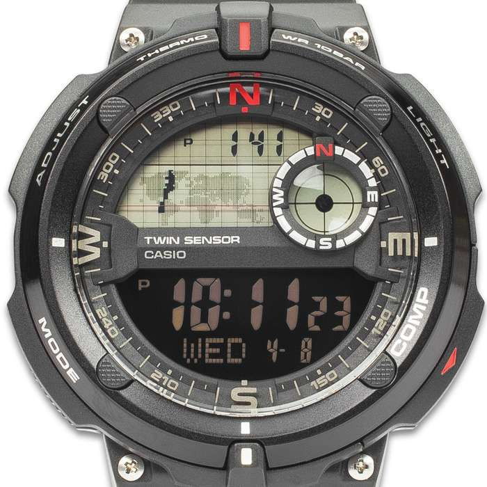 Casio Core Sport Black Bezel Watch - Digital Compass, Thermometer, Water-Resistance 100 m, TPR Band, EL Backlight
