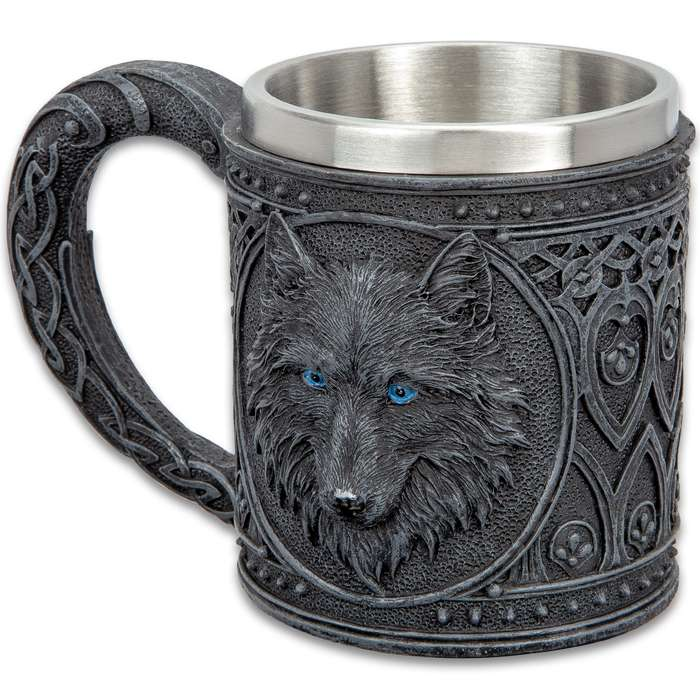 """Dark Wolf Coffee Mug And Tankard - 12-Ounce,  Cold Cast Resin Construction, Stainless Steel Liner, Intricate Detail - Dimensions 4 1/4""""x 3"""""""