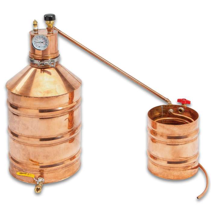 Six-Gallon Copper Moonshine Still Lyne Master With Worm - Handcrafted, Revere Copper Construction, Copper Rivets, Made In The USA
