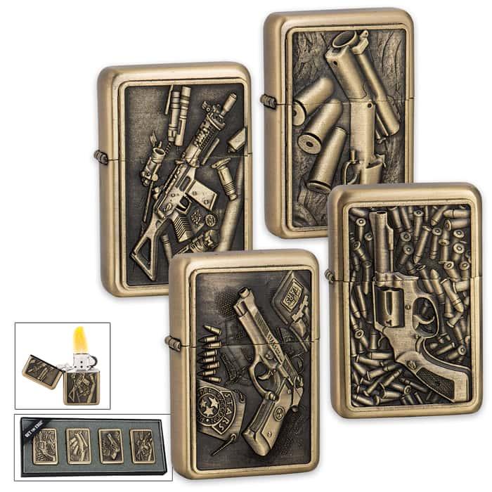 Firepower Brushed Brass Lighter Set