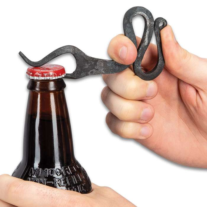 Hand-Forged Medieval Bottle Opener - Solid, One-Piece Iron Construction, Lanyard Hole - Length 4 1/2""