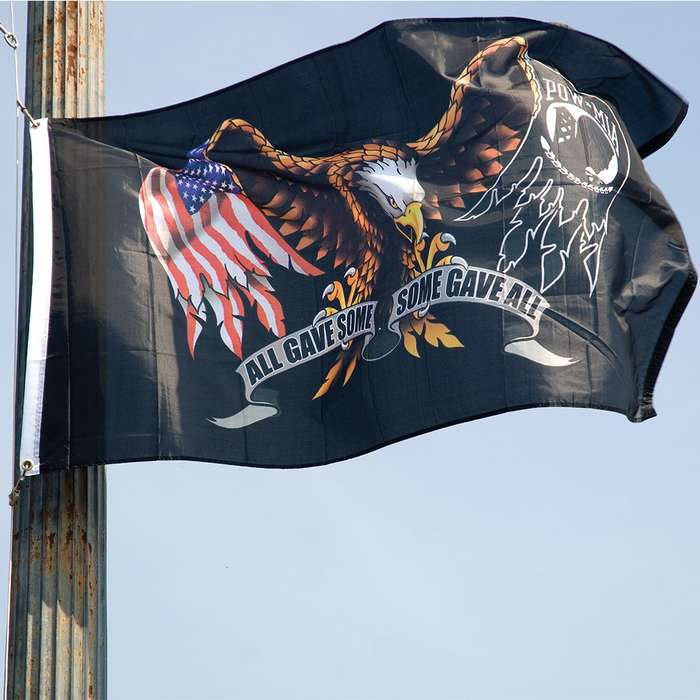 All Gave Some, Some Gave All Flag - POW-MIA Tribute, Polyester Construction, Dye-Sublimated, Fade-Resistant, Hanging Grommets - Dimensions 3'x5'
