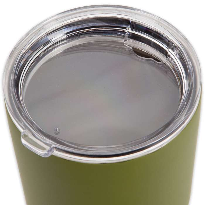 Large Double Walled Matte Olive Drab Insulated Tumbler- 30 Oz