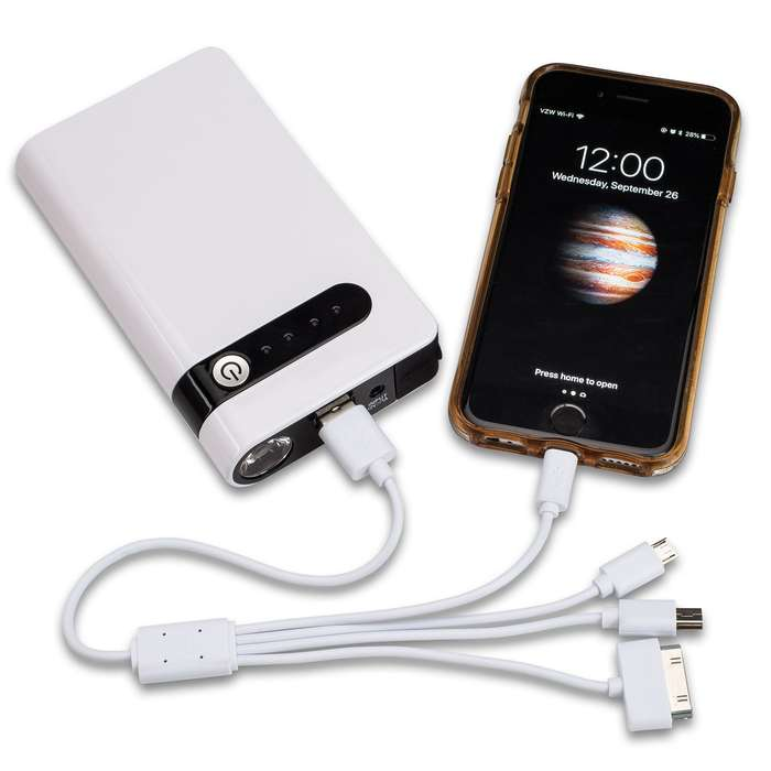 Portable Car Battery Jumper And Power Bank With Case – 8,000 MAH, Battery Clamps, Home And Car Adaptor, USB Multi-Head Cable