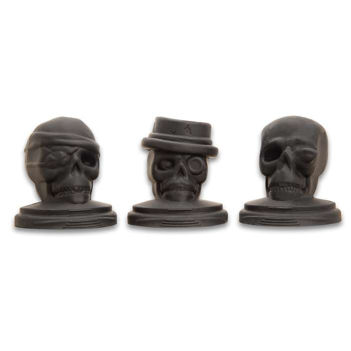 Skull Ice Molds - Three Pack, Silicone Construction, Highly Detailed, Stackable Design, Base Tray With Handles