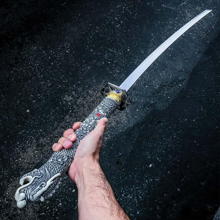 "40"" White Dragon SAMURAI NINJA Bushido KATANA Japanese Sword Stainless Steel Blade"