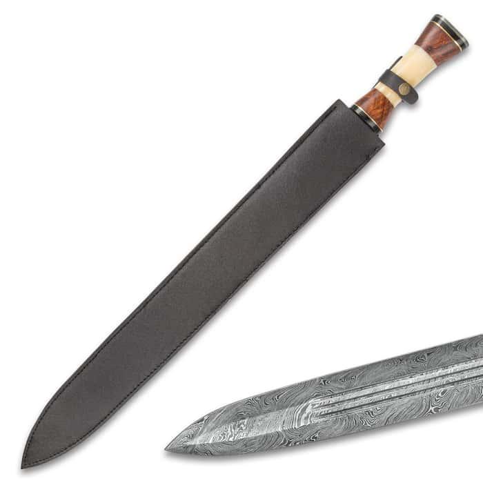 "Timber Wolf Anthem Handmade Double Edged Sword - Hand Forged Damascus Steel - Walnut, Camel Bone - Gladius Style Profile - Genuine Leather Belt Scabbard - 30"""