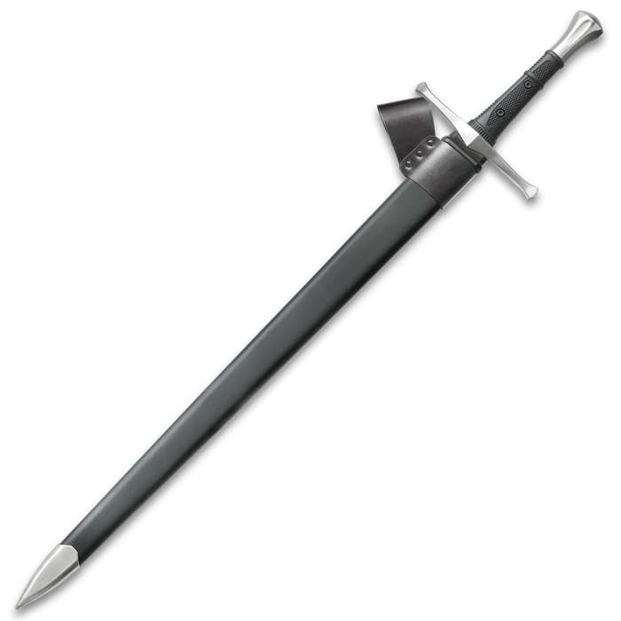 """Honshu Broadsword With Scabbard - 1060 High Carbon Steel Blade, TPR Handle, Stainless Steel Pommel - Length 43 1/2"""""""