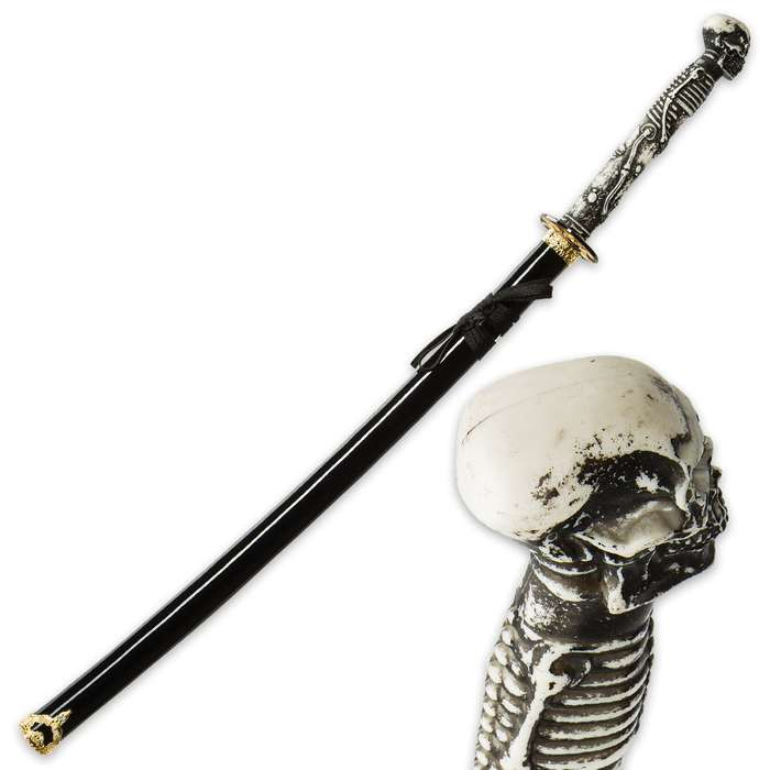 """Something Wicked"" Skull and Bones Fantasy Katana Sword with Scabbard"