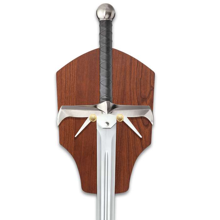 Spiked Sword Of The Highlands And Display Plaque - Stainless Steel Blade, Faux Leather Wrap, Metal Alloy Handle - Length 49 1/2""