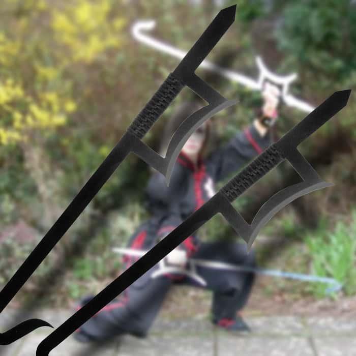 2-piece Chinese Hook Sword Set Black