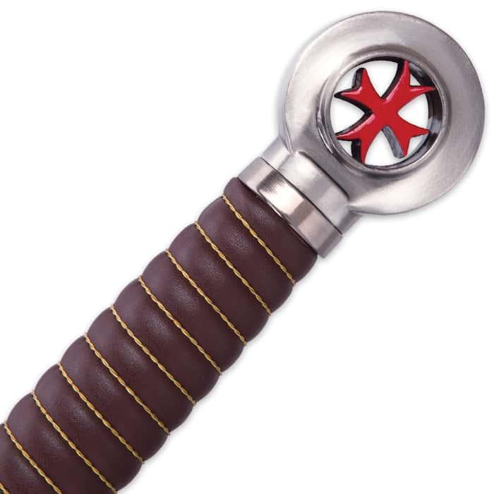 Crusader Knights Templar Sword With Wooden Display Plaque