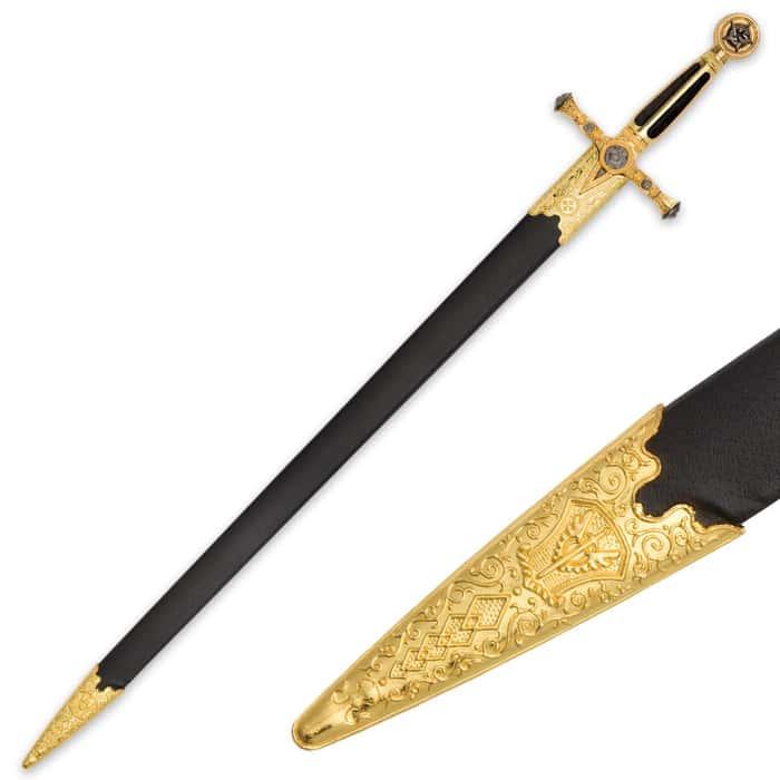 Medieval / Masonic Sword of Destiny with Scabbard - Black